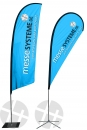 Beach flag middle, heigth 3.4m/3.7m, aluminum pole + bag